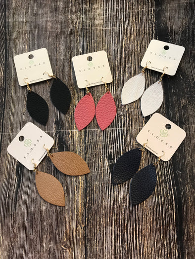 Oval Shape Leather Earrings - Monograms By Kim Boutique & Gifts