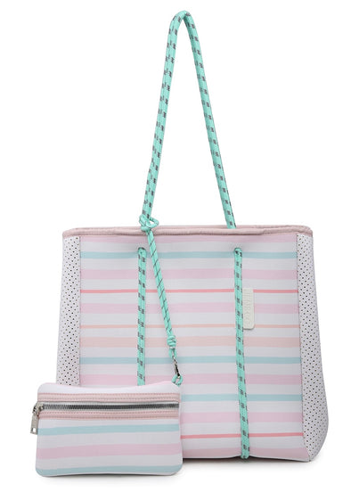 Multifunctional Neoprene Tote - Stripe-Multi