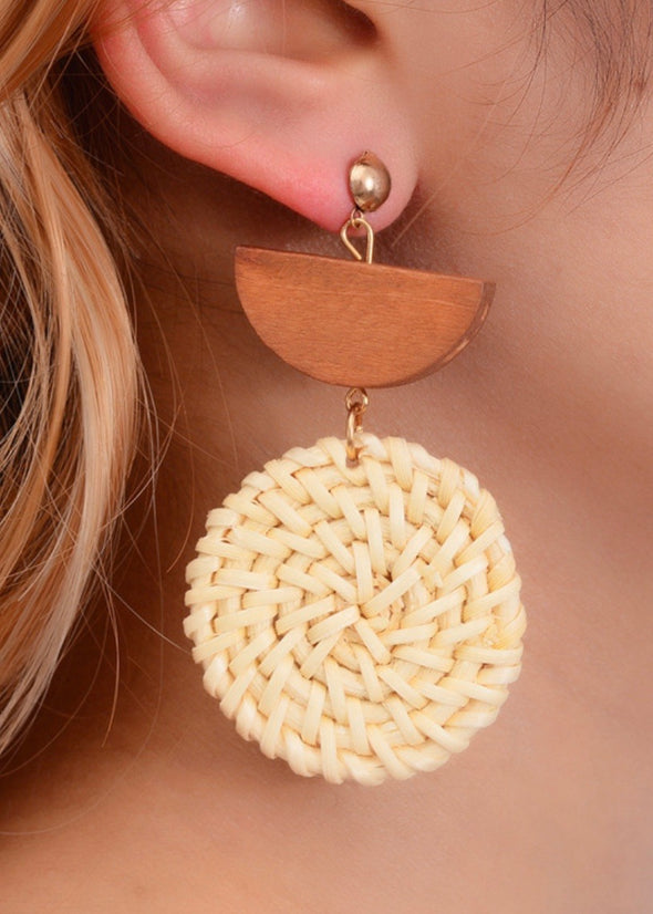 Rattan Dangle Earrings - Coffee - Monograms By Kim Boutique & Gifts