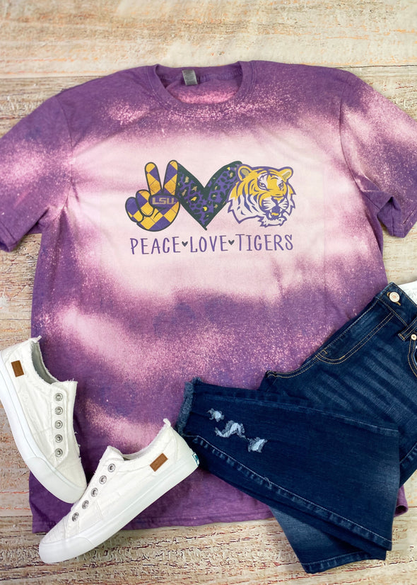 Peace Love Tigers (LSU) Bleached Graphic Tee