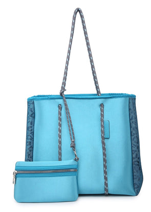Multifunctional Neoprene Tote - Cheetah Teal