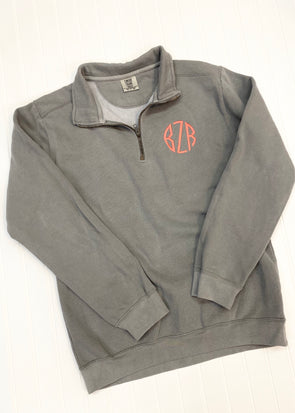 Comfort Colors Quarter Zip Pullover - Grey - Monograms By Kim Boutique & Gifts