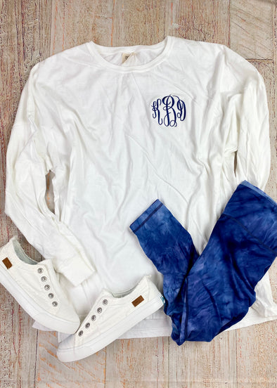 Monogrammed Comfort Colors Long Sleeve Tee-White