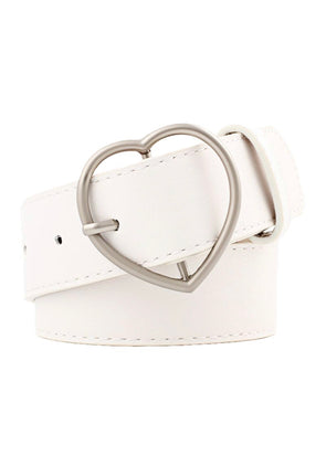 Heart Buckle Belt - White - Monograms By Kim Boutique & Gifts