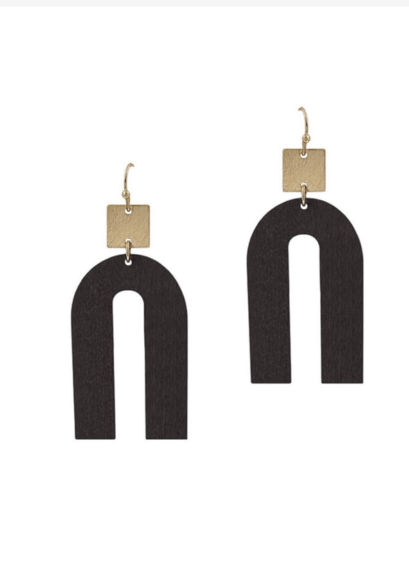 "Black Wood Geometric w Gold 2"" Earrings"
