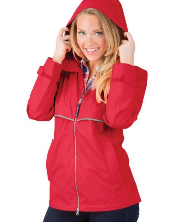 New Englander Rain Jacket--Red - Monograms By Kim Boutique & Gifts