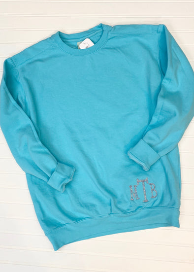 Monogrammed Comfort Colors Sweatshirt - Lagoon Blue - Monograms By Kim Boutique & Gifts