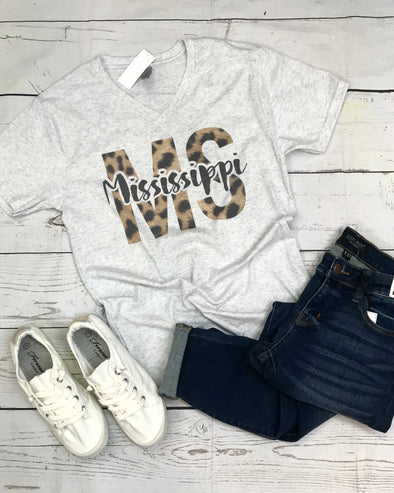 Leopard Mississippi Graphic Tee - Monograms By Kim Boutique & Gifts