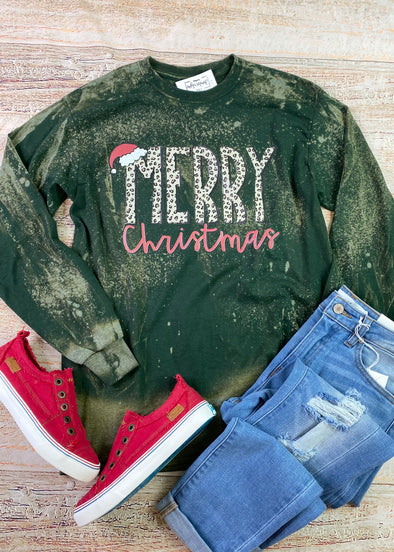 Merry Christmas Leopard Bleached Long Sleeve Tee