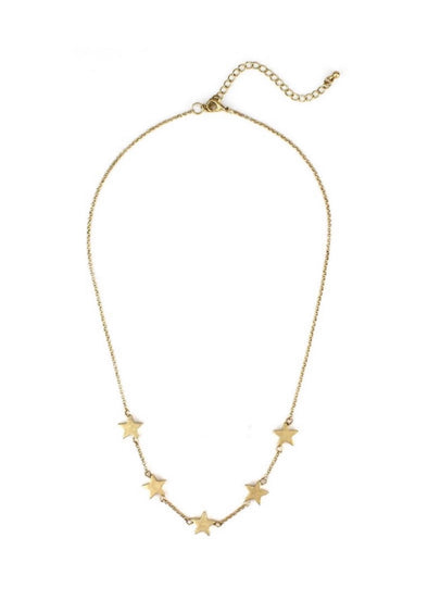 "Worn Gold Star 16"" - 18"" Necklace"
