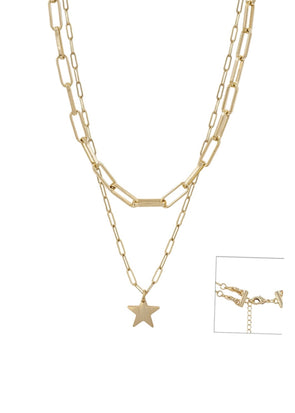 "Gold Chain & Star Layered 17""-19"" Necklace"