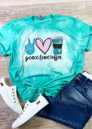 Peace Love  Coffee Bleached Graphic Tee