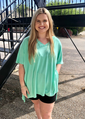 Time Is Now Oversized V Neck Top - Green Mint