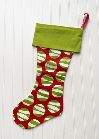 Monogrammed Christmas Stocking--Zebra Dot/Green Cuff - Monograms By Kim Boutique & Gifts