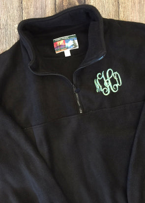 Monogrammed Quarterzip Fleece Pullover - Black