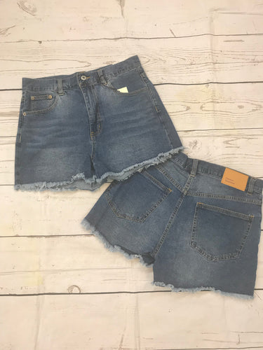 Frayed Hem Denim Shorts - Blue - Monograms By Kim Boutique & Gifts