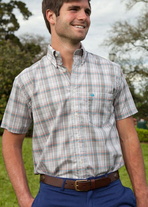 Catawba Plaid Dress Shirt - Short Sleeve - Gray & Orange