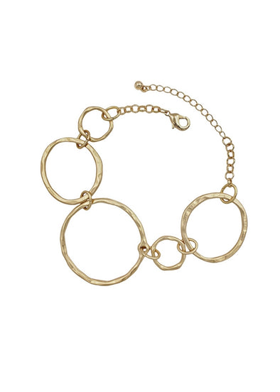 Matte Gold Open Circle Chain Bracelet