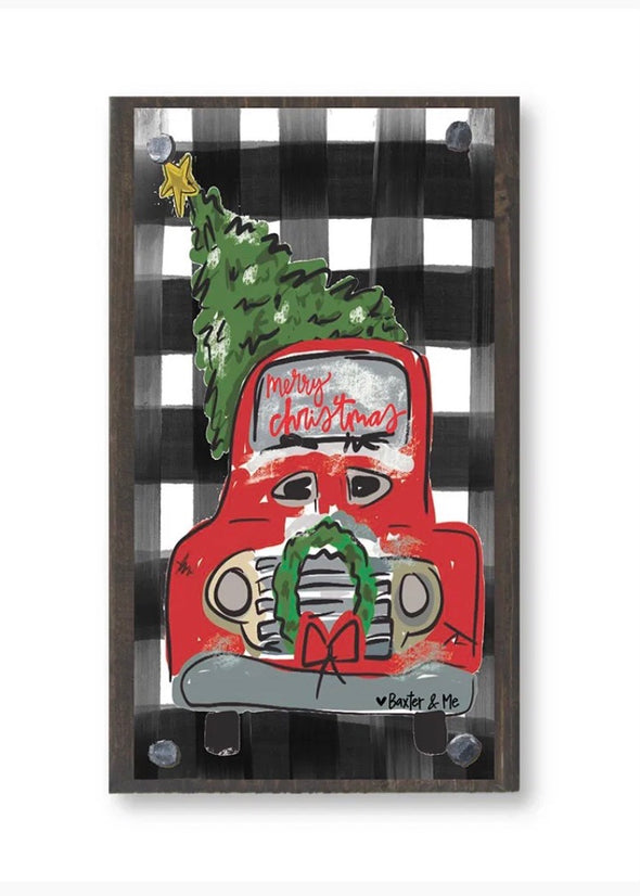 Merry Christmas Red Truck Happy Block