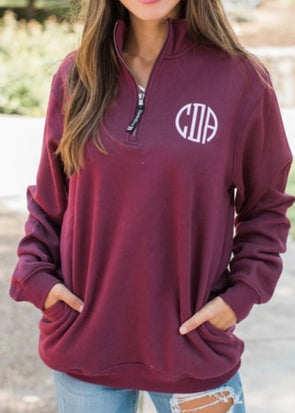 Crosswind 1/4 Zip Sweatshirt - Maroon - Monograms By Kim Boutique & Gifts