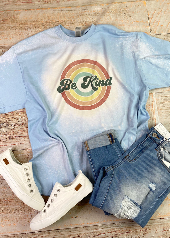 Be Kind Retro Bleached Graphic Tee