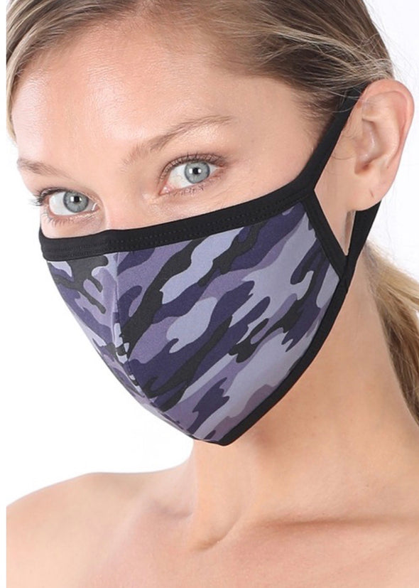 Washable Filter Pocket Mask - Navy Camo
