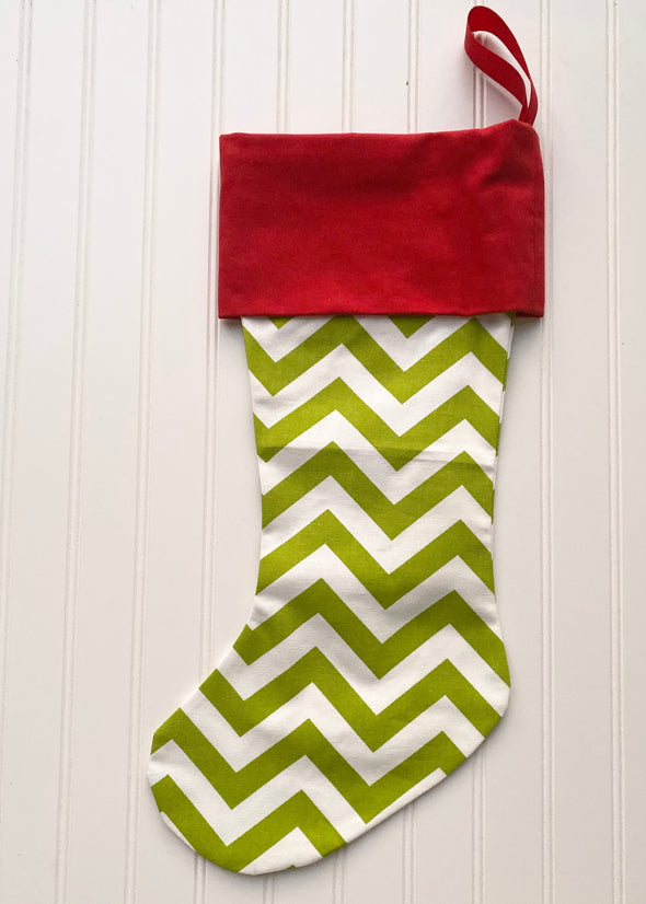 Monogrammed Christmas Stocking--Green Chevron/Red Cuff - Monograms By Kim Boutique & Gifts