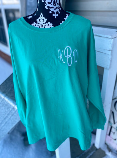 Monogrammed Comfort Colors Long Sleeve Tee-Island Green