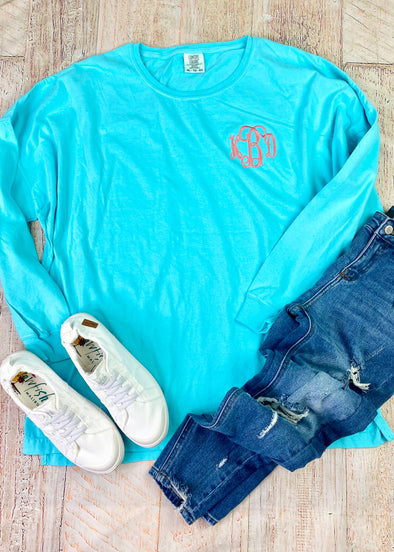 Monogrammed Comfort Colors Long Sleeve Tee-Lagoon