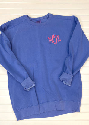 Monogrammed Comfort Colors Sweatshirt - Flo Blue - Monograms By Kim Boutique & Gifts
