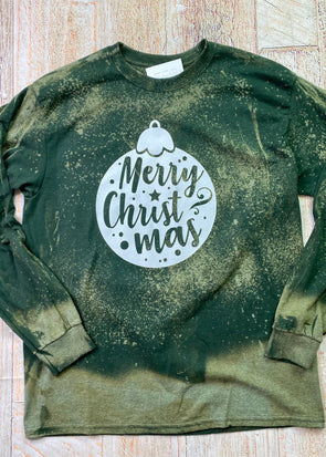 Merry Christmas Ornament Bleached Long Sleeve Tee