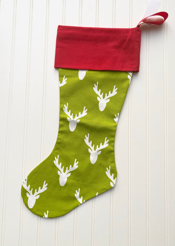 Monogrammed Christmas Stocking - Antlers Chartreuse/Red Cuff - Monograms By Kim Boutique & Gifts