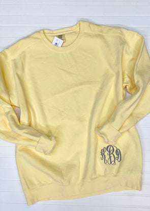 Monogrammed Comfort Colors Sweatshirt - Butter - Monograms By Kim Boutique & Gifts