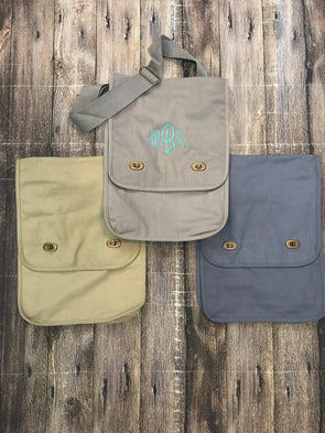 Monogrammed Comfort Colors Canvas Field Bag - Monograms By Kim Boutique & Gifts
