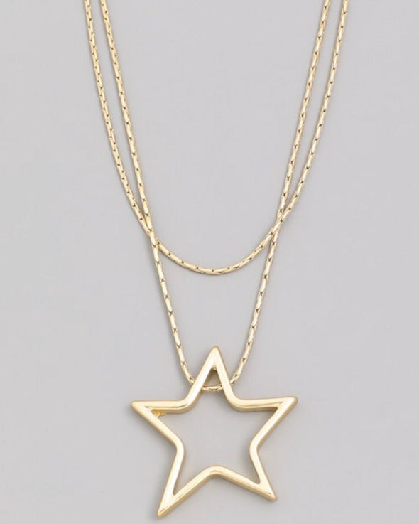 Gold-tone Star Necklace - Monograms By Kim Boutique & Gifts
