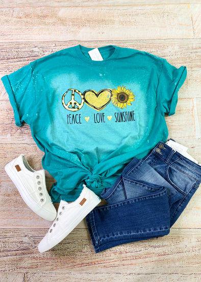 Peace Love Sunshine Bleached Graphic Tee