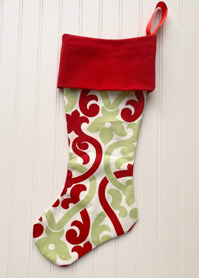 Monogrammed Christmas Stocking--Fleur Multi/Red Cuff - Monograms By Kim Boutique & Gifts
