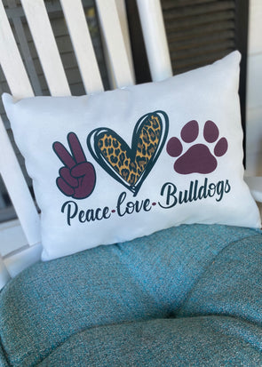 Peace Love Bulldogs Pillow