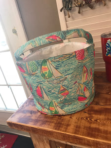 Monogrammed Lilly Pulitzer Print Easter Basket--Sailboat
