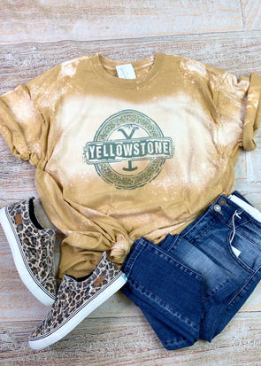Yellowstone Leopard Bleached Graphic Tee