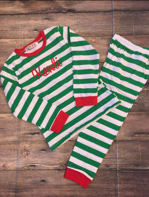 Monogrammed Green Striped Youth Christmas PJs