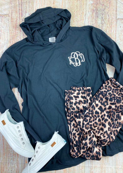 Monogrammed Comfort Colors Lightweight Hoodie-Black