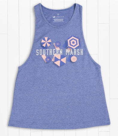 Southern Marsh Marci Tank - Umbrellas -Royal Blue