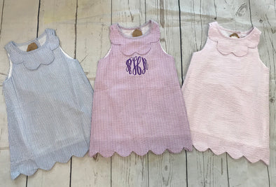 Monogrammed Seersucker Dress--3/4 Toddler - Monograms By Kim Boutique & Gifts