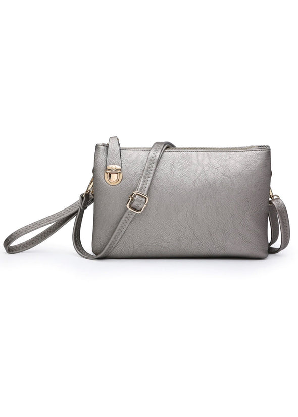 Monogrammed Sarah Crossbody/Clutch - Pewter
