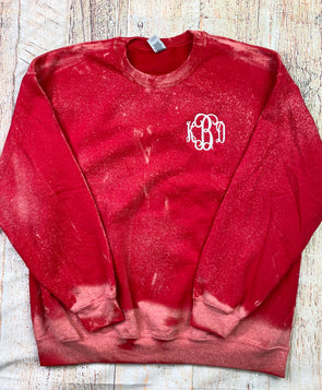 Monogrammed Dipped Sweatshirt - Red