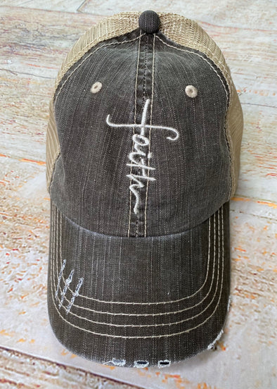 Faith Ball Cap-Brown