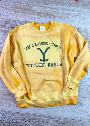 Yellowstone Dutton Ranch Bleached Sweatshirt-Gold