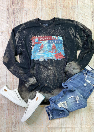 Merry & Bright Bleached Long Sleeve Tee