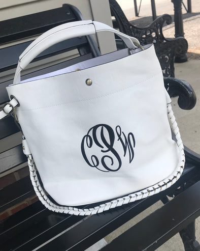 Monogrammed 2-in-1 Bucket Purse--White - Monograms By Kim Boutique & Gifts
